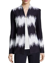 Misook Noelle Static Print Long Sleeve Cardigan White Navy