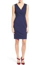 Women's Halogen Faux Wrap Ponte Sheath Dress Navy Peacoat
