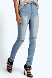 Boohoo High Waisted Split Knee Skinny Jeans Pale Blue