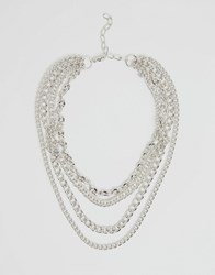 Reclaimed Vintage Multi Chain Necklace Silver