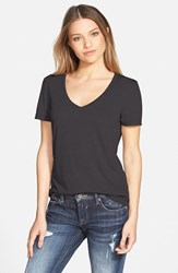 Junior Women's Bp. V Neck Tee Grey Medium Charcoal Heather