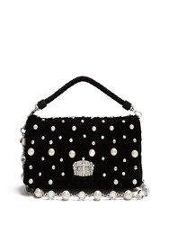 Miu Miu Faux Pearl Embellished Velvet Shoulder Bag Black