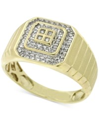 Macy's Men's Diamond Square Style Ring 1 4 Ct. T.W. In 10K Gold Yellow Gold