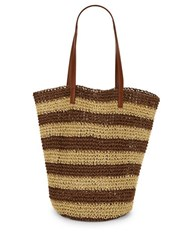 Lord And Taylor Field Brow Striped Shopper Field Brown