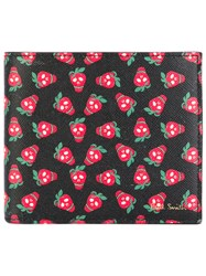 Paul Smith Strawberry Skull Billfold Wallet Men Cotton Leather One Size Red