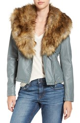 Love Token Women's Faux Leather Jacket With Removable Faux Fur Collar Winter Mint