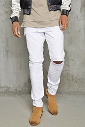 Forever 21 Distressed Skinny Moto Jeans White