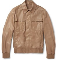 Berluti Leather Bomber Jacket Tan