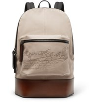 Berluti Scritto Canvas And Leather Backpack Beige
