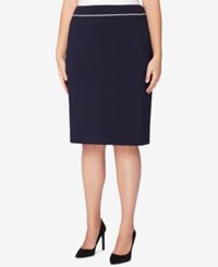 Tahari By Arthur S. Levine Asl Plus Size Piped Pencil Skirt Navy Cloud