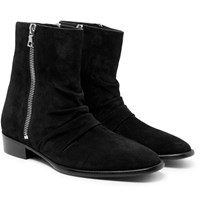Amiri Skinny Stack Ruched Suede Boots Black