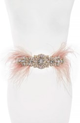 Tasha Feather And Crystal Stretch Belt Medium Pink