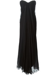 Alexander Mcqueen Draped Bustier Evening Dress Black