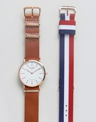 Reclaimed Vintage Leather And Canvas Interchangable Strap Watch Gift Set Multi