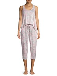 Tahari Two Piece Lace Trimmed Pajama Set Summer Bloom