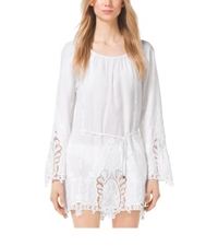 Michael Kors Embroidered Cotton Voile Tunic White
