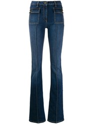Elisabetta Franchi Creased Flared Jeans Blue