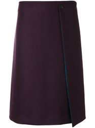 Paul Smith Ps By A Line Skirt Nylon Acetate Viscose Wool Pink Purple