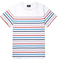A.P.C. Slim Fit Striped Cotton Jersey T Shirt White