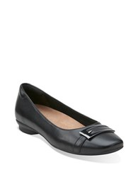 Clarks Candra Glare Goat Leather Flats Black
