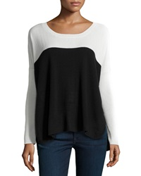 Central Park West Cashmere Colorblock Knit Sweater Ivory Black