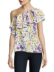 Parker Printed Ruffled One Shoulder Top Multicolor