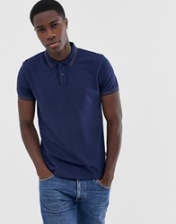 Wrangler Tipped Polo Shirt In Navy