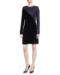 Cedric Charlier Long Sleeve Satin And Velvet Combo Dress Dark Blue