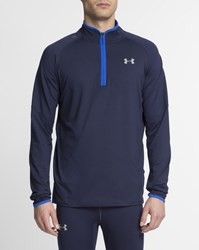 Under Armour Navy Blue Stand Up Collar Zip Up No Breaks Jumper