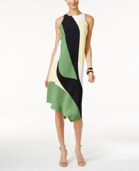 Alfani Printed Asymmetrical Dress Only At Macy's Green Abstract Colorblock