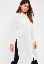 Missguided Plus Size White Crepe Maxi Shirt