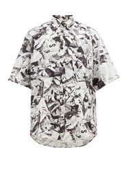 Balenciaga Magazine Print Satin Shirt Black White