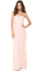 Badgley Mischka Collection Strapless Corset Ruffle Gown Blush