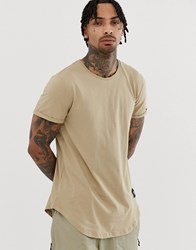 Sixth June Curved Hem T Shirt In Stone