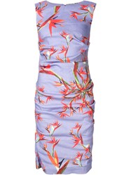 Nicole Miller Floral Print Pencil Dress Pink And Purple