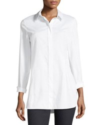 Lafayette 148 New York Jake Stretch Cotton Button Front Blouse White