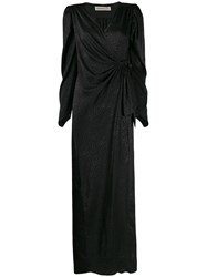 Nineminutes Side Fastening Wrap Gown Black
