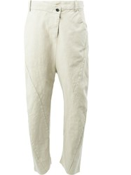 Masnada Dropped Crotch Trousers Women Cotton Linen Flax Resin 44 Nude Neutrals