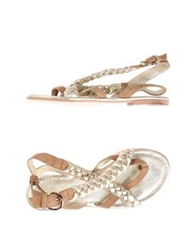 Met Thong Sandals Gold