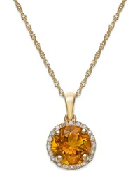 Macy's Citrine 1 1 10 Ct. T.W. And Diamond Accent Pendant Necklace In 14K Gold