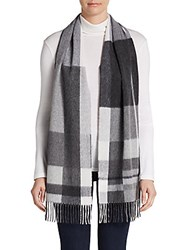 Saks Fifth Avenue Black Blocked Plaid Cashmere Scarf Grey