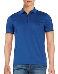 Hugo Boss Philix Quarter Zip Polo Shirt Open Blue