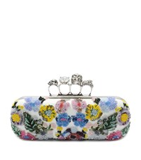 Alexander Mcqueen Embroidered Flowers Knuckle Box Clutch Female Multi