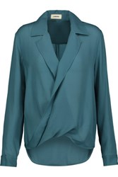 L'agence Rita Wrap Effect Washed Silk Georgette Blouse Turquoise