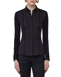 Akris Punto Stretch Woven Ladder Stitch Blouse Black