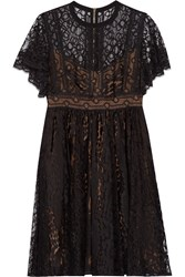 Elie Saab Guipure Lace Mini Dress Black