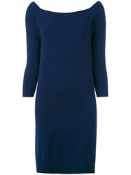 N.Peal Boat Neck Fitted Dress Blue