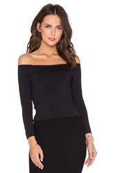 David Lerner Bardot 3 4 Sleeve Top Black