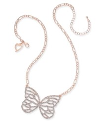 Thalia Sodi Pave Butterfly Pendant Necklace 18 3 Extender Created For Macy's Rose Gold