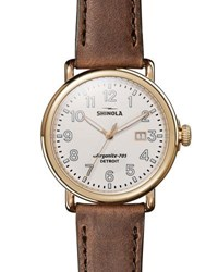 Shinola Runwell Leather Watch Brown Gold Brown Gold